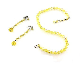 Yellow Aurora Borealis Multi Faceted Glass Bead Necklace And Earring Set Demi Parure / b3