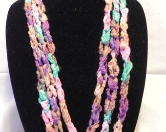 Pink, Teal, Purple and Tan Varigated Ribbon Crochet Chain Scarf/Necklace
