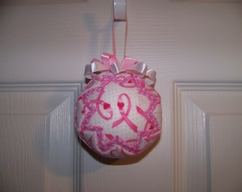 Breast Cancer Awareness Ribbon Quilted Ornament/Pink Ribbon