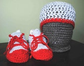 Crochet Baby Hat and High Top Booties - Bamboo/Cotton Blend - Gray and Red - BridgetsCollection