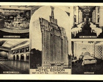 Vintage Hotel Edison Postcard, Restaurant, NY New York Manhattan C1940s (Unused)