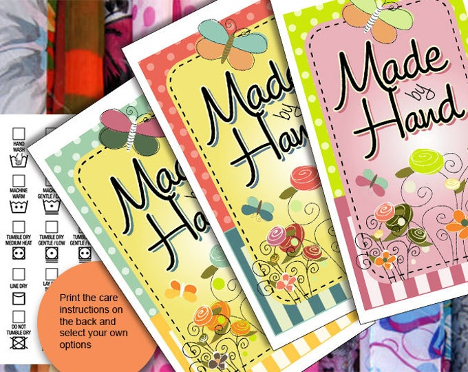 Care Tags  • Boho Style • Washing Instructions •Bright Colors • Flowers/Stripes • PDF & PNGs • Retail Items or Gifts • Original Digital Art