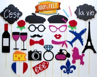 Paris PhotoBooth Props - 25 Piece Photo Props France, Props France, Props Paris, Photo Props Paris, Photo Booth Paris, Photo Booth France