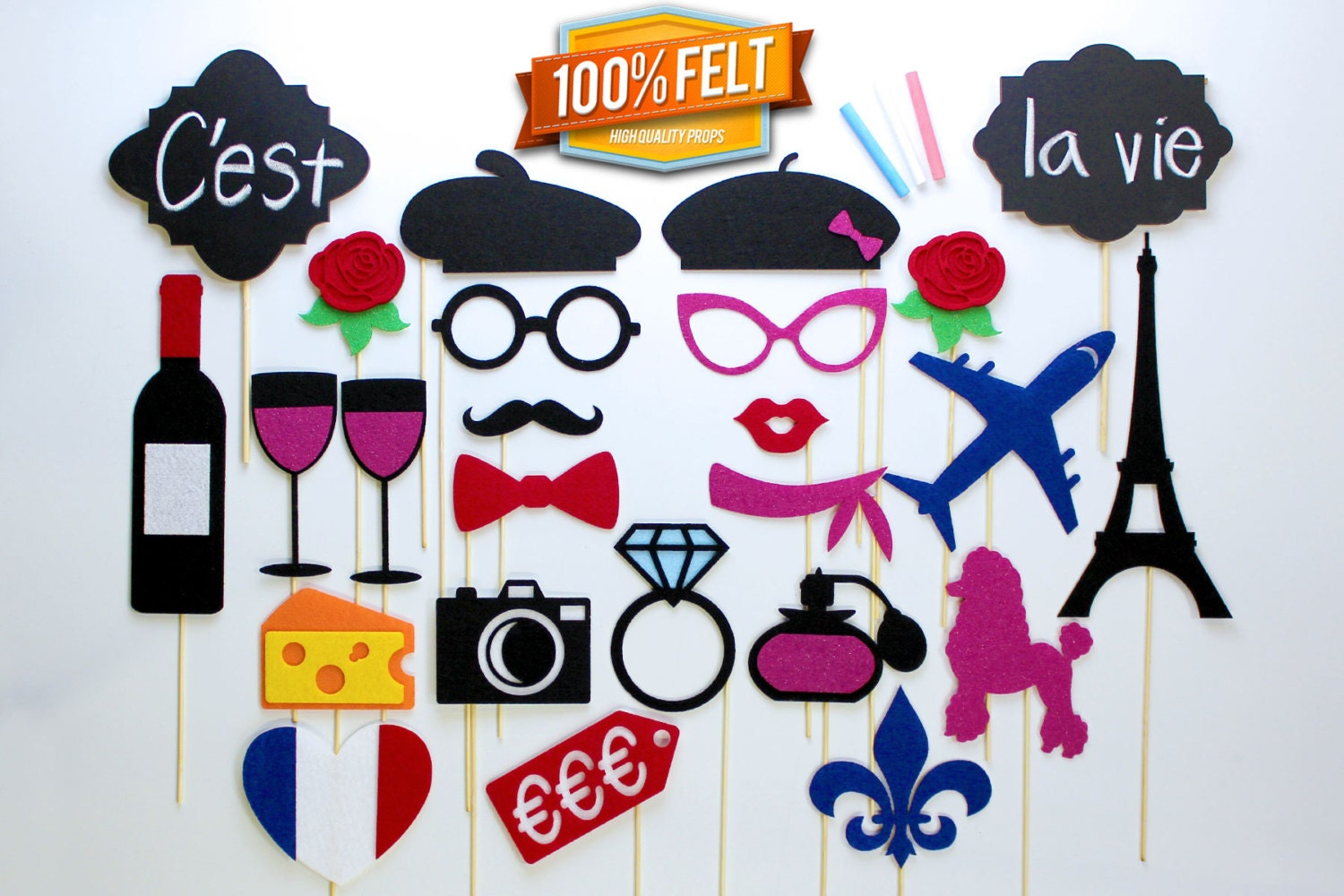 Populaire French Photo Booth Props 25 Piece Package for French MV51