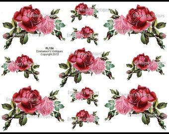 Vintage Pink and Red Shabby Roses Waterslide Decals~ FL134