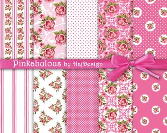 "Pink floral digital paper : ""Pinkabulous"" pink shabby chic digital paper with roses on pink and white, roses digital paper, decoupage paper"
