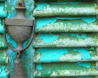 "Door Photography, Rustic Decor, Turquoise Green Print, Weathered Decor Art, Farmhouse Art, Peeling Paint, Old Door Knocker - ""Rustic Dreams"""