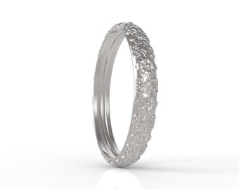 14ct White Gold Antique wedding band
