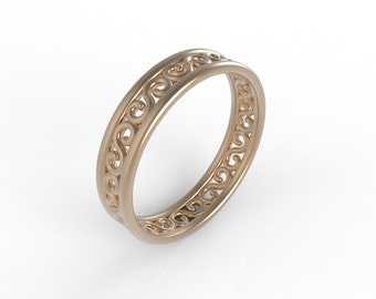 14kt Rose Gold filigree wedding band, Ring wedding woman