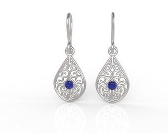 Sterling silver filligree drop earrings