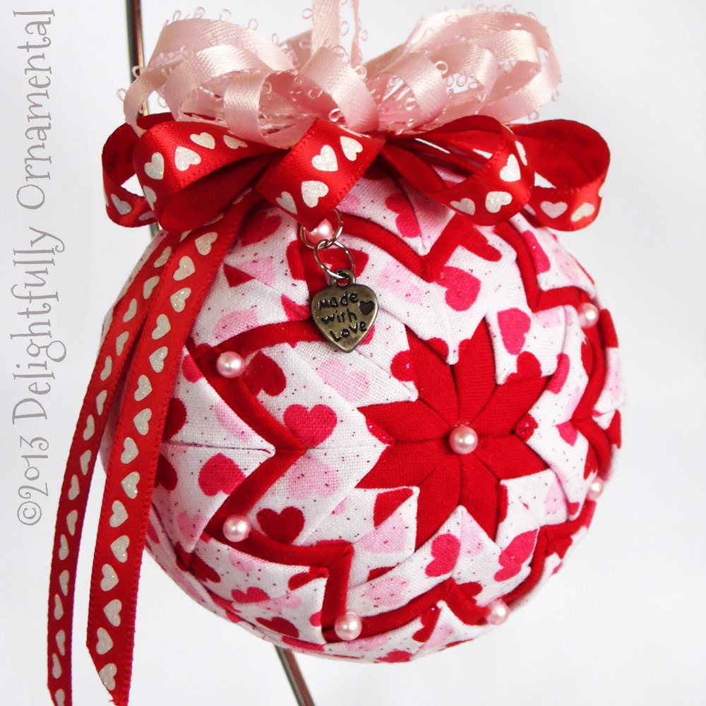 Valentine 39 s day quilted fabric christmas ornament for Christmas ornaments sale