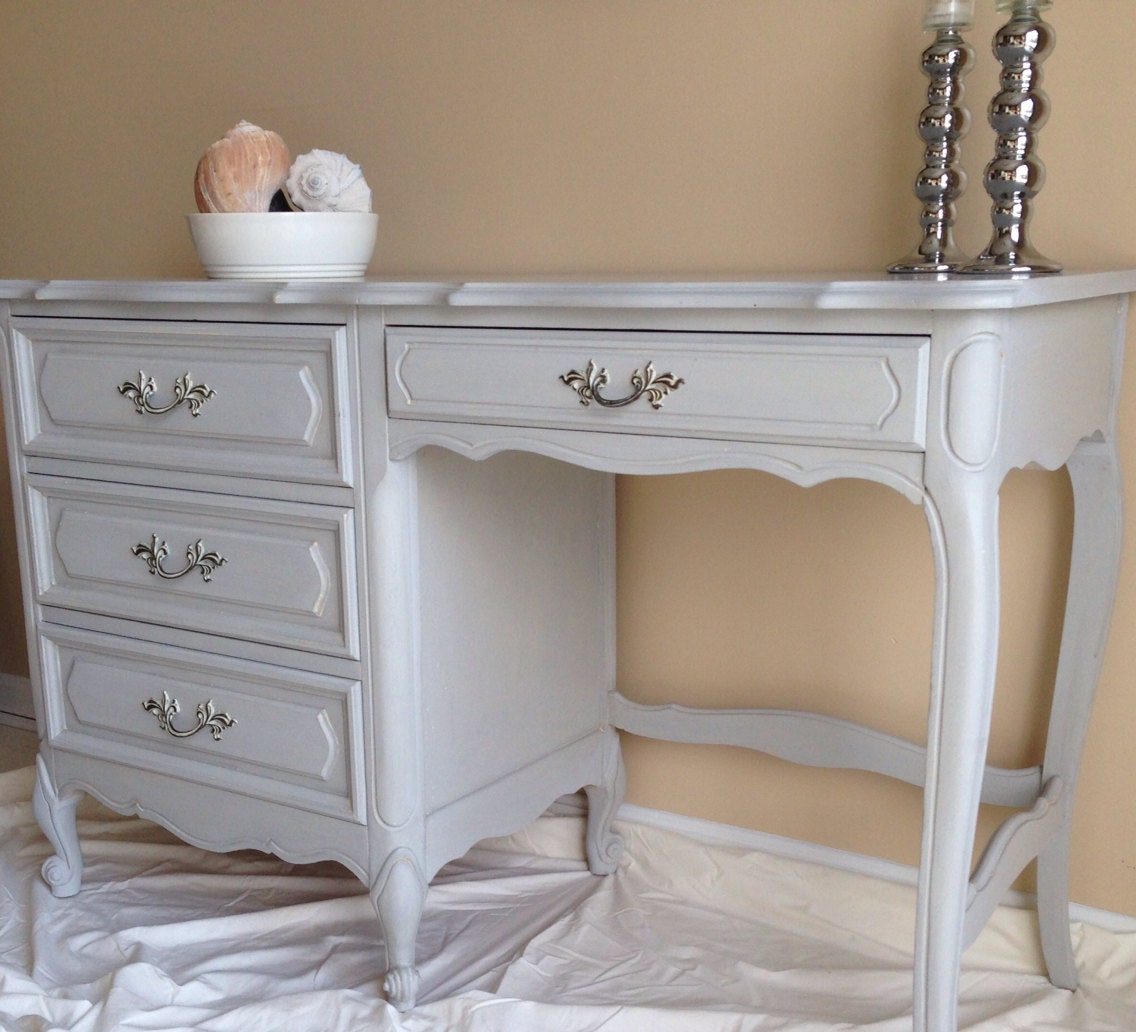 Vintage French Provincial Desk In Annie Sloan Paris Grey Chalk