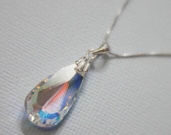 Swarovski AB Crystal Faceted Briolette Necklace, Sterling Silver Necklac