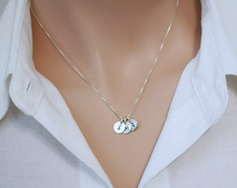Triple Initial Necklace, Sterling Silver Initial Necklace