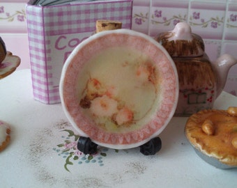 Dolls House miniature 'Shabby Chic Pink Rose' Ceramic Plate
