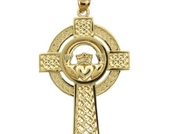 Claddagh cross, celtic cross, Cross, 14k Cross, Gold Cross, Irish cross, Designer Jewelry