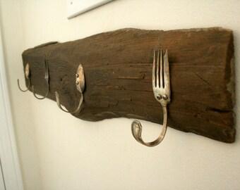 Barnwood Coat Rack With Vintage Silverware Hooks