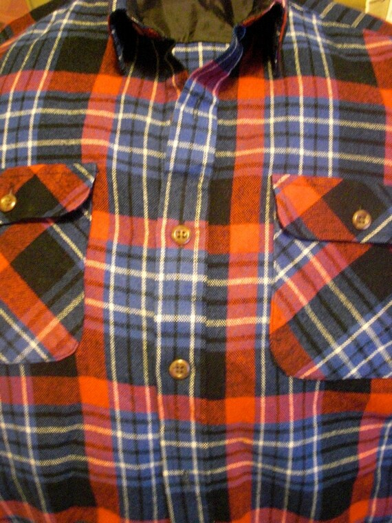 Red white black and blue plaid flannel shirt with breast for Red white and blue plaid shirt