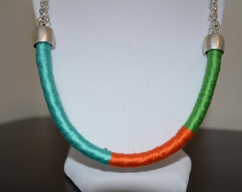 Colorfully threaded rope necklace