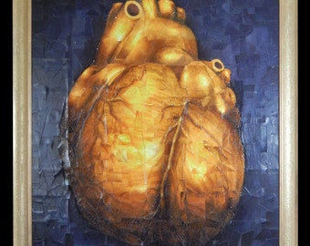 Human Heart Of Gold embellished mixed media art collage