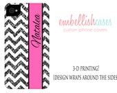 iPhone 5 case glitter, iphone 5 case, monogrammed personalized with your name initials, tough case pink chevron glitter NOT ACTUAL GLITTER