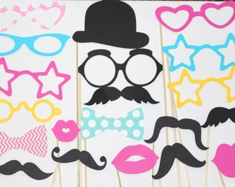 25 PhotoBooth Props, Mustache Party, Lips, Wedding Photo Booth, Props on a Stick CandyLand, Candy Party