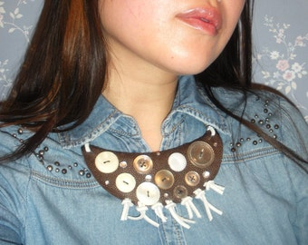 Brown Faux Stingray Skin Bib Necklace with Vintage Button/Rhinestone and Leather Detail