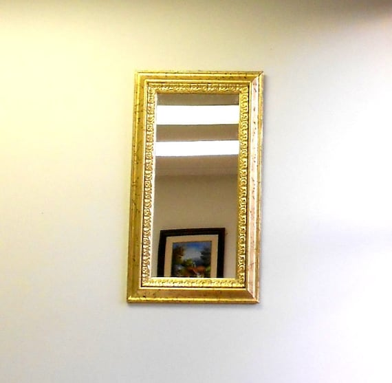 Narrow mirrorwall decorative mirrorgold frame by goldleafgirl for Narrow wall mirror decorative