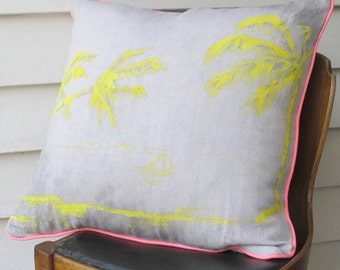 Aloha - hand painted, hand dyed, linen cushion with neon pink piping