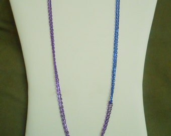 26 inch long Deep Sapphire Blue and Dark Bright Purple Double Chain Asymmetrical Necklace