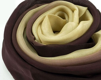 Beige and Brown Gradient Silk Chiffon Scarf - Brown and Beige Gradient Silk Scarf - AS240