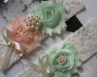 Wedding Garters / Lace Garter / Mint / soft peach / Bridal Garter / Toss Garter / Vintage Inspired