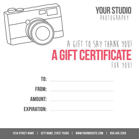 photography gift card template digital gift certificate photoshop template camera gift. Black Bedroom Furniture Sets. Home Design Ideas