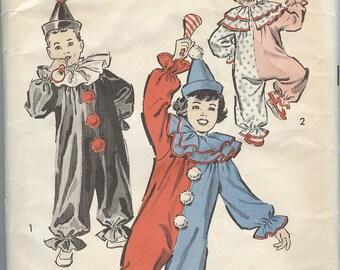 1940s Clown Costume Pattern Advance 707 Halloween Costumes Childrens Kids Patterns Size 2-4