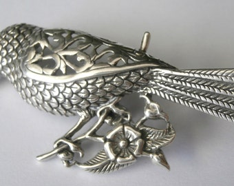 Signed Jelaine  Cardinal Bird Pin Brooch Sterling Silver .925   12gr