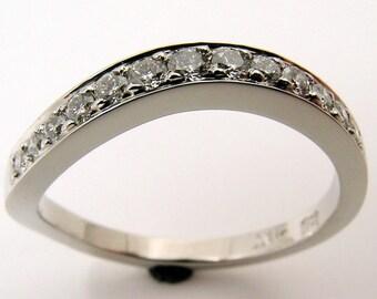 Hand Made and micro pave set diamond and10% Iridium Platinum Sea Wave Series Wedding Band