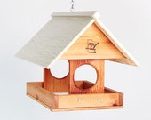 Cedar Covered Fly-Thru Hanging Bird Feeder - Handmade in Minnesota
