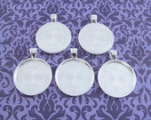 "20 - 1 Inch Round Pendant Trays - Shiny Silver - Vintage Antique Style Pendant Blanks Bezel Setting 25 mm 1"" Diameter"