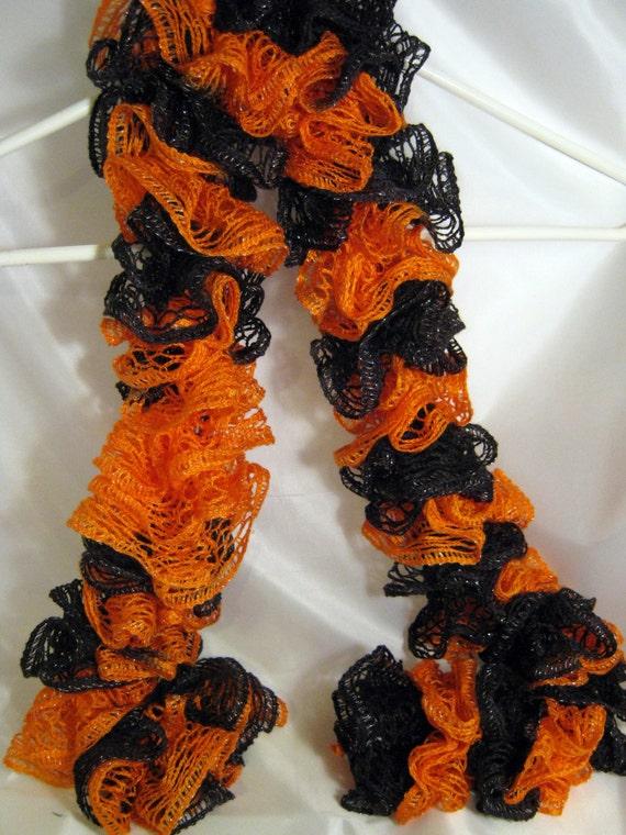 ruffled sashay scarf orange and black