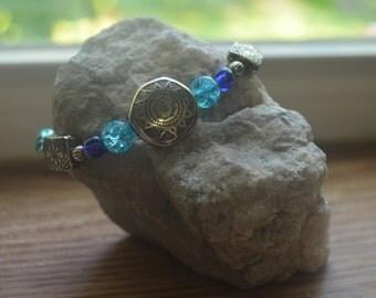 Blue Beaded Stretchy Bracelet