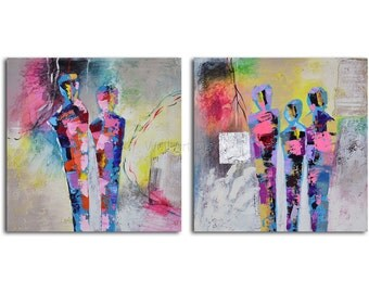"Hand painted Acrylic Painting set of 2 - 32"" x 64"" Gallery wrapped and stretched canvas art, abstract, textured , modern, large painting"