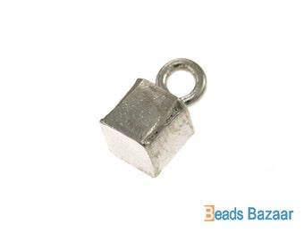 Plain Hollow Cube Charm, 6 mm - Karen Hill Tribe silver