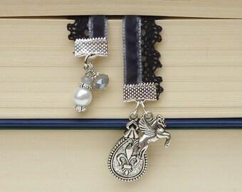 bookmark velvet Pegasus  silver