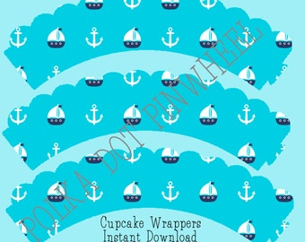 Blue Sailboat Nautical Cupcake Wrapper Printable- instant download