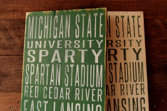 Michigan State University Spartans Distressed Wood Sign--Great Father's Day Gift!