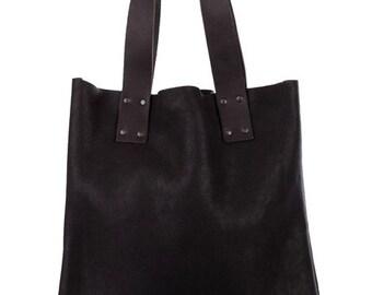 Black Leather Bag, Tote bag, leather tote bag,black shoulder bag,shopping bag,minimalist bag, big sack handbag, genuine leather