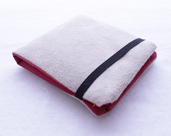 Faux Suede Billfold Wallet in Red and Beige