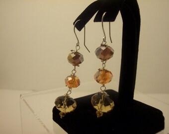 BEAD SILVER EARRINGS Brown  Chandelier Silver Earrings  Orange Dangle  Earrings,