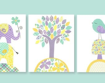 Nursery Wall Art, Girls Room Decor, Children's Decor, Aqua Purple Yellow Nursery, Elephant Nursery, Bird Nursery, Baby Shower Gift, Toddler