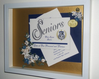 Custom Graduation Gift - Framed & Quilled Grad Annoucement